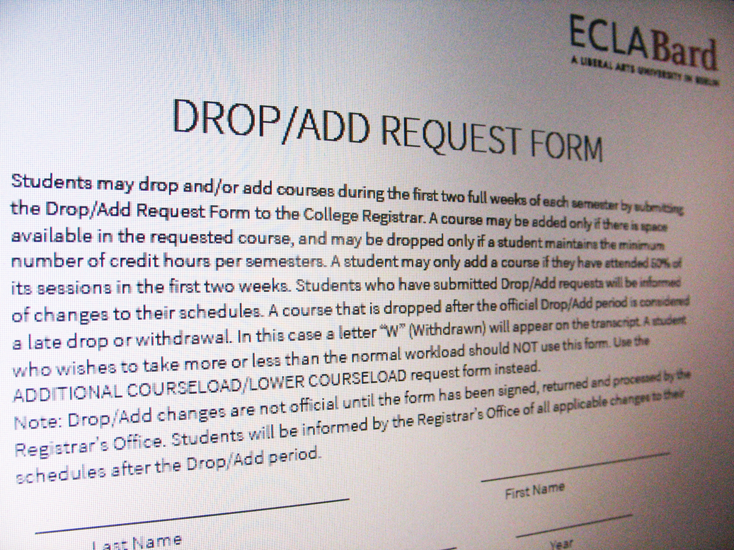 Drop/Add Request form