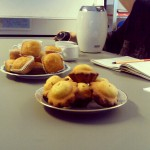 Tea and Muffins in of of the Pre-Christmas French classes
