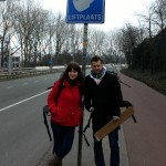 Special sign for hitch-hikers on the outskirts of Amsterdam