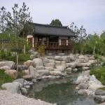 Korean garden in Gärten der Welt Berlin Marzahn. The Kye Zeong pavillion.