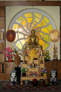 Golden-colored Altar Dedicated to Buddha in the Library .