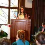 Marija Uzunova gives a speech as a Project Year (PY) student