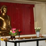 Altar to Buddha in the Meditation Hall .