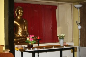 Altar to Buddha in the Meditation Hall