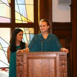 Anisa Shaikh and Emma Hovi give a speech together on behalf of the graduating BA generation