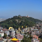 A view of Swayambhunath from a neighboring hill