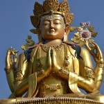 Detail of one of the three golden statues from Swayambhunath hill