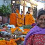 Flower sellers are found in front of temples as they are used during Hindu rituals