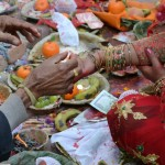 Detail of a wedding ritual between a couple that defied the cast system and ran away to have a private wedding with friends