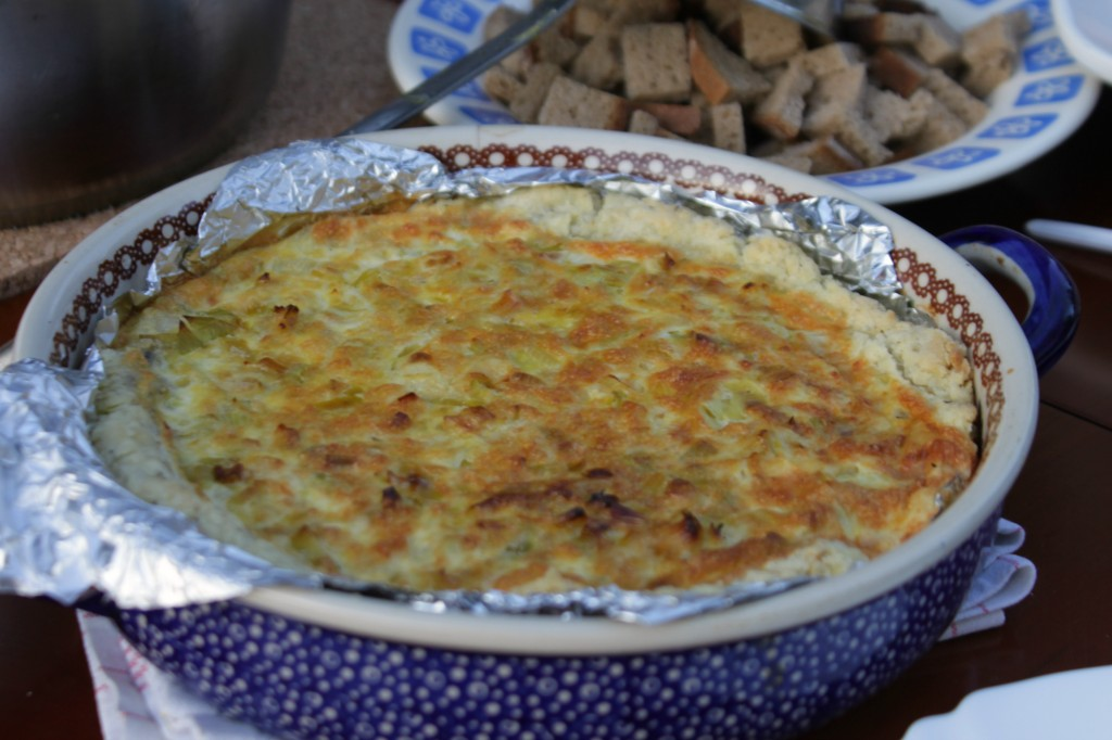Onion quiche prepared during the annual French Dinner (photo by Valerie Pochko)