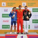 Pole vaulter medalists, Hans-Christian Hausenberg of Estonia (silver), Noel Aman del Cerro Vilalta of Spain (gold) and Antoine Taillandier of France (bronze). (Photo: Hervé Kerouédan)