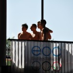 Russian swimming team, celebrating their gold dominance. (Photo: Hervé Kerouédan)