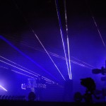Lights and lasers during the Pet Shop Boys' performance