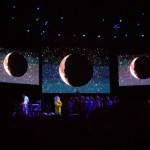 Moon projection during Björk's performance