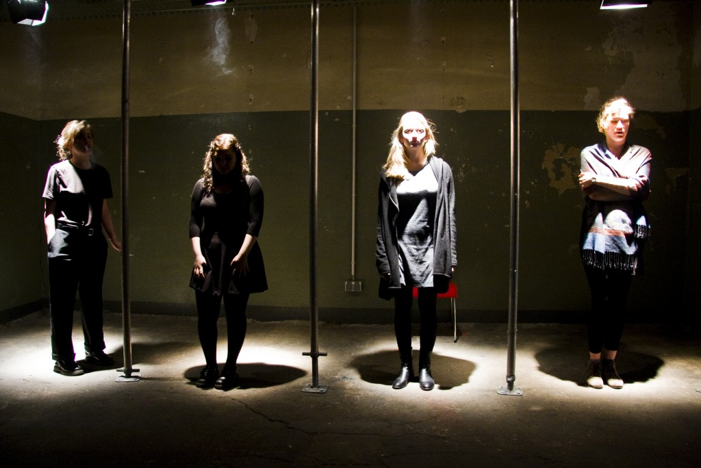 The cast of Pain Has an Element of Blank at the beginning of the performance (from left to right): Nadezhda Shevchenko (Russian Federation, BA2), Nicola Goldberg (USA, Bard in Berlin), Josephine O'Neil (USA, Begin in Berlin), Zsófia Hornyai (Hungary, BA1)