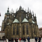 [3] St. Vitus Cathedral, view from the east end. The cathedral is a part of the Prague Castle complex.