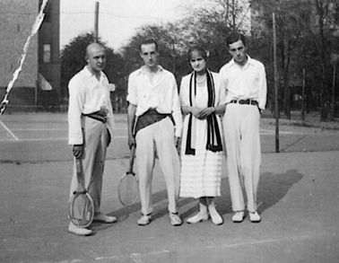 "Nabokov (second from left) on a tennis court behind the cinema ""Universum"" - which later became Schaubühne"
