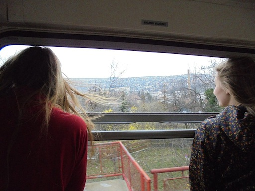 Theadora and Amelia  looking out at Budapest from a cog train (photo by Eleanor Turrell)