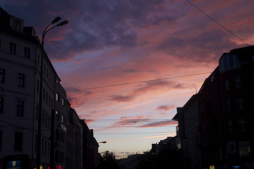 September 2014 — Sunset over Rosenthaler Platz, Berlin.