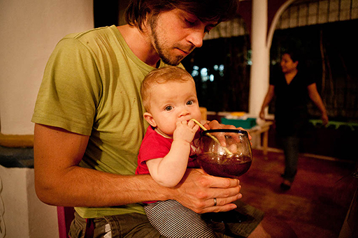 "Mila likes Jamaica drink at the Cancun - Restaurant Pozoleria. Mexico (Yucatan). Photo: ""Family Without Borders"" blog"