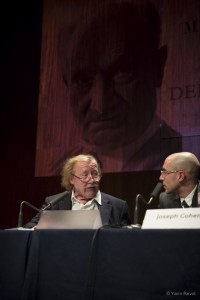 Colloque Heidegger; Peter Sloterdijk, Joseph Cohen. © Yann Revol