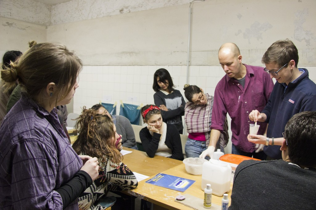 John von Bergen with students at a Sculpture class workshop. Photo: Inasa Bibic