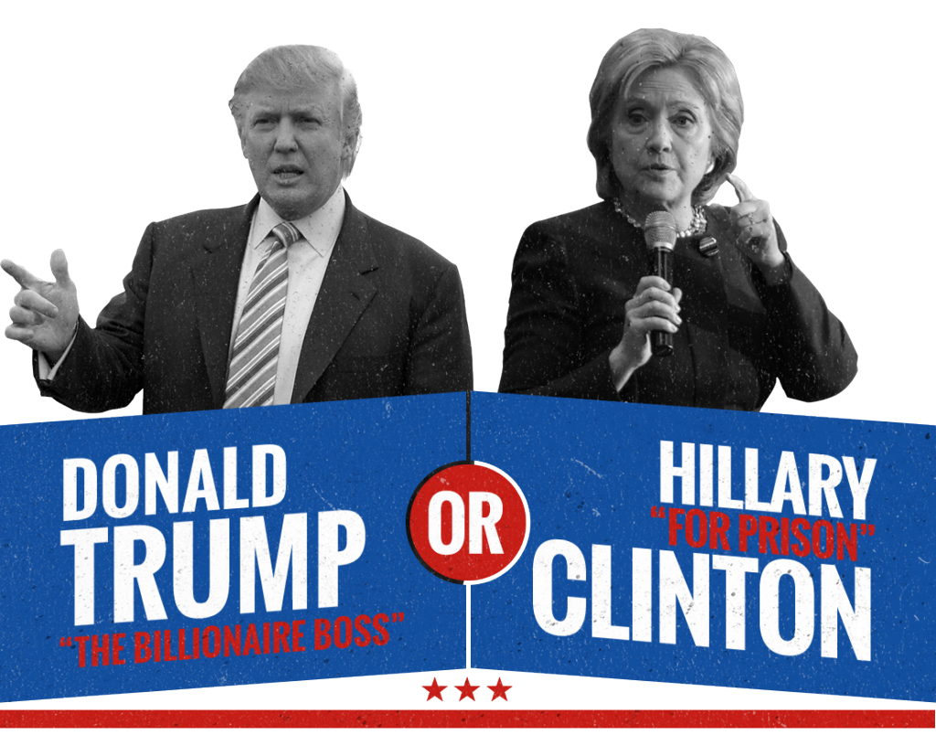 "'IN THE RACE FOR THE WHITE HOUSE, WHICH CANDIDATE SHOULD THE PEOPLE ELECT? THE BUSINESSMAN FROM THE EMPIRE STATE OR THE ""INEVITABLE"" CANDIDATE FROM THE LEFT?' (credit: trumporhilary.com)"