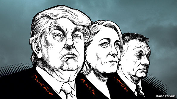 Three of today's biggest populists: America's Donald Trump, Marine Le Pen of France and the Hungarian Viktor Orban. (Credit: David Parkins, The Economist.)