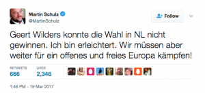 "[""Geert Wilders couldn't win the Dutch elections. I am relieved. We must continue our fight for a free and open Europe"" (Credit: Martin Schulz via Twitter)]"