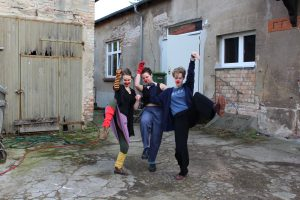 Three clowns having fun during a workshop at BCB (Credit: Anna Zakelj)