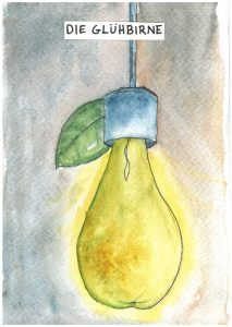 "Die Glühbirne: the lightbulb, literally the ""glowpear"""