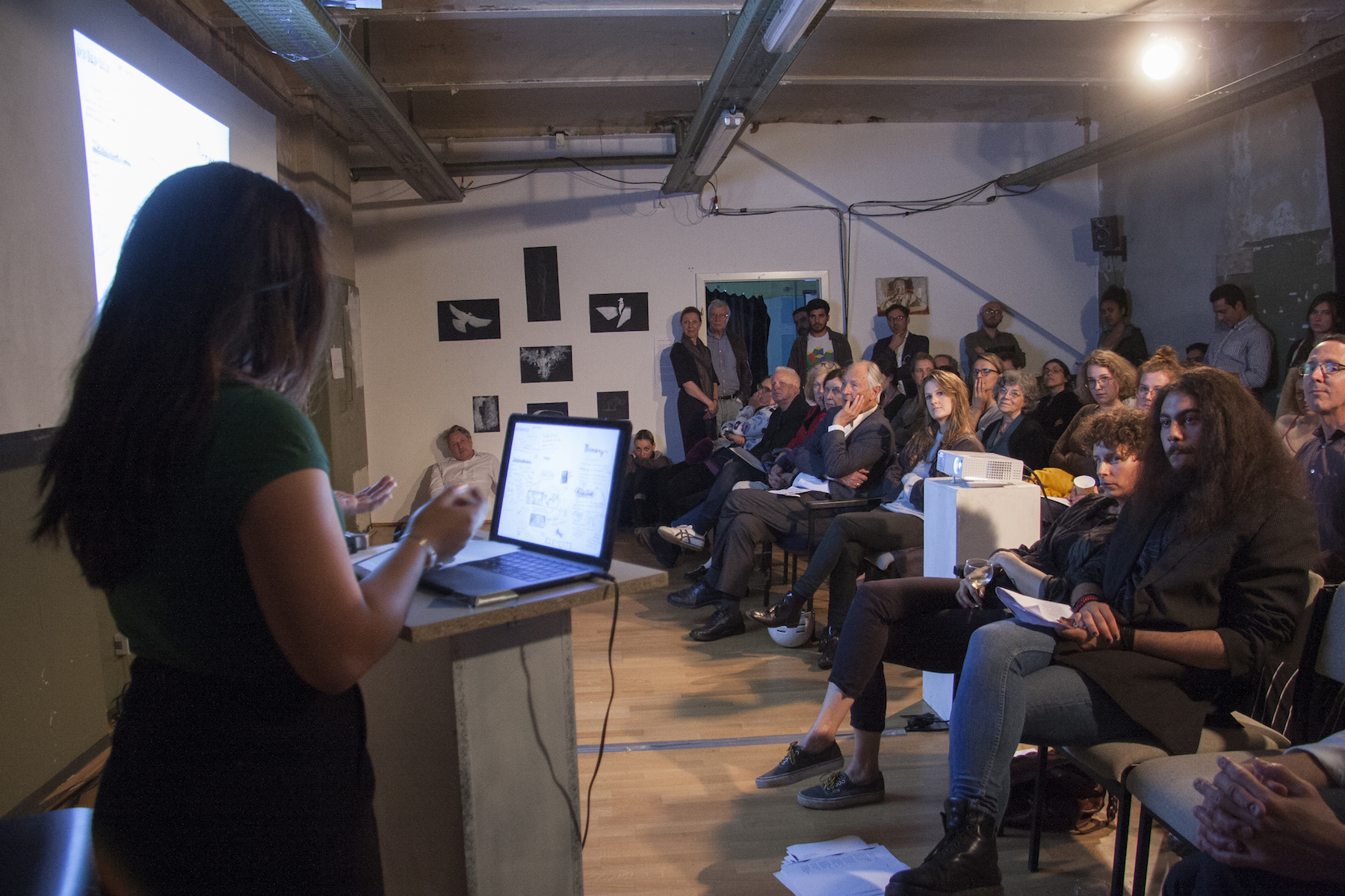 "Maria Jose Sarmiento speaking about her work during the ""I Am The Ghost"" event this past Spring 2018 (Photo by Irina Stelea)"